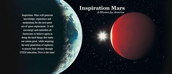 Inspiration Mars web page's header.