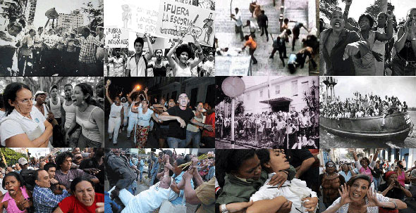 Imágenes de actos de repudio y arrestos en Cuba.