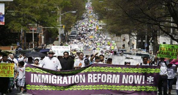 Protesta de inmigrantes...
