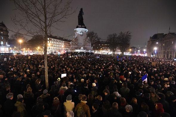 Marcha contra el terrorismo en Paris, Francia.