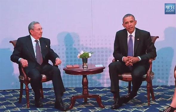 El general Raúl Castro y el presidente Barack Obama.