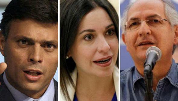 López, Machado y Ledezma, opositores venezolanos...