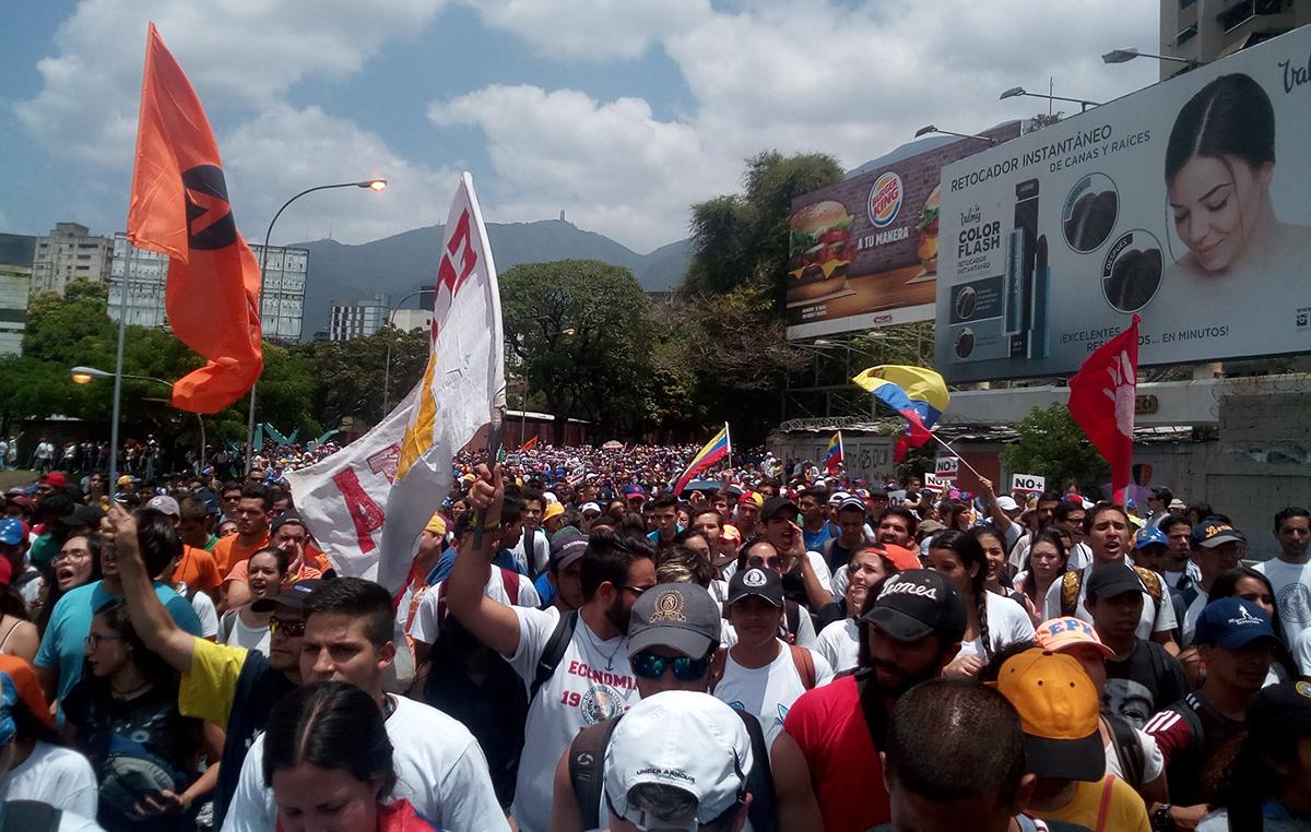 Marcha de protesta en Venezuela.