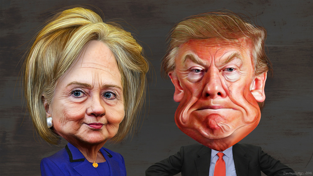 Caricaturas de Clinton y Trump...