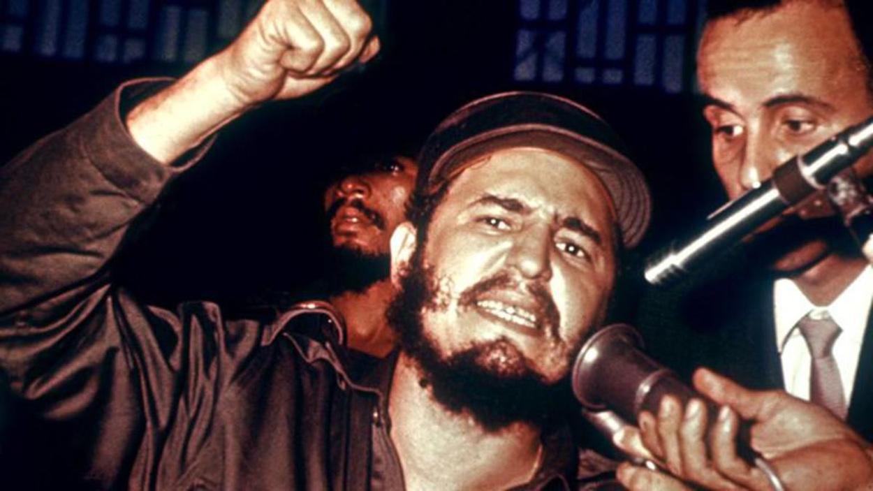Fidel Castro en un acalorado discurso...