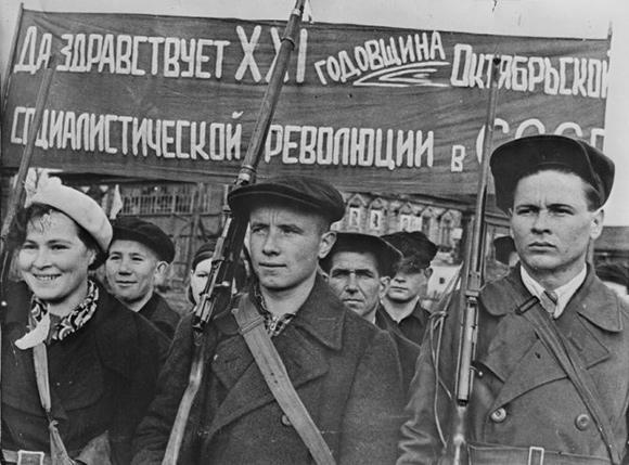 Simpatizantes de Lenin durante la revolución rusa...