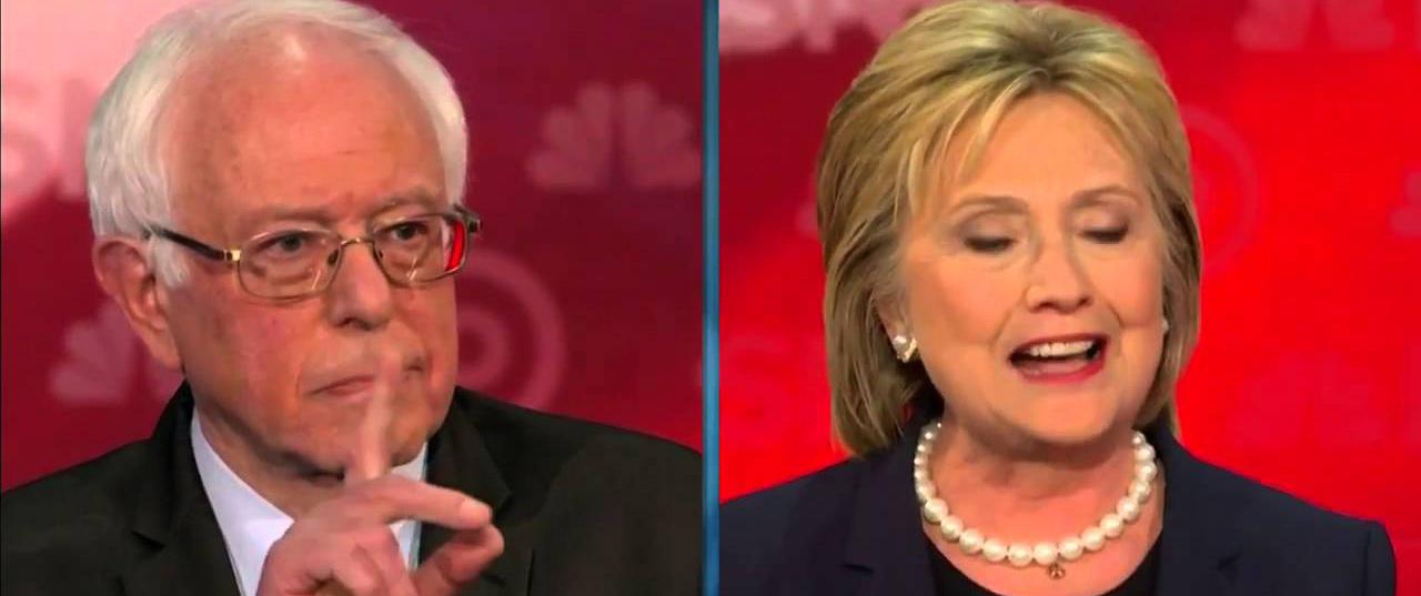 Bernie Sanders y Hillary Clinton en su gran final...
