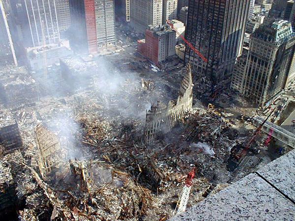 Estado de las Torres Gemelas tras los atentados del 911